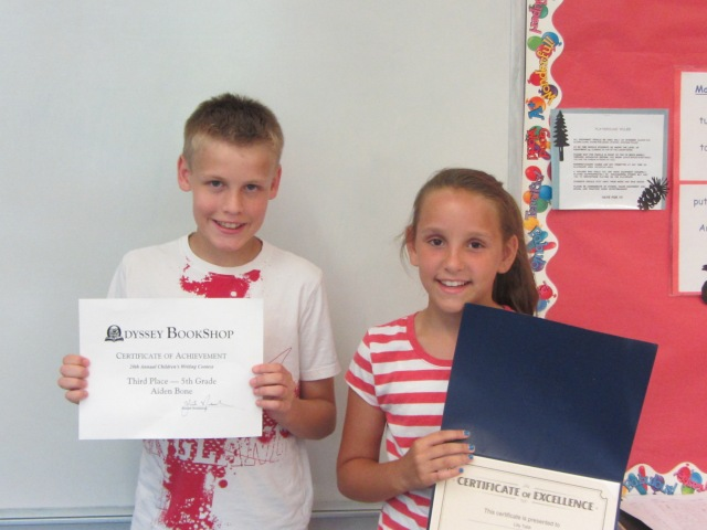 "5th graders Aidan and Lily  received awards for their outstanding writing. Aidan won a contest through the Odyssey Book Store.  Kelly was the MAAC essay winner for her essay on bullying: Bully -be-Gone"". Exceptional job by both students!"