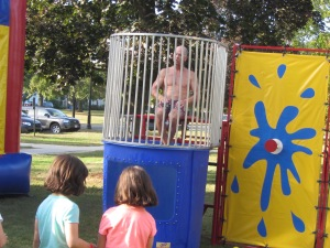 Mr. Bradshaw in the dunk tank!
