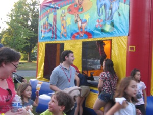 School Committee Chair Michael Clark enjoying the Carnival and  supporting Center School.