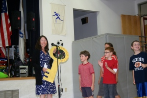 Our very special guest was Marianne Malone, author of The Sixty-Eight Rooms. Students present her with the key to Center School.
