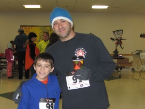 Sam and Dad warm up before the race.